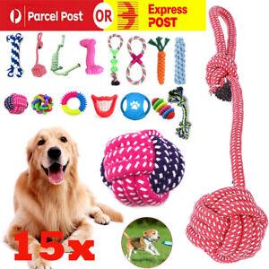 15pcs Dog Rope Toys Nolsen Pet Puppy Chew Toy Gift Durable Cotton Clean Teeth AU