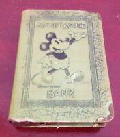 VINTAGE WALT DISNEY MICKEY MOUSE BOOK COINS BILLS BANK. GREEN. METAL