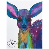 Maria Scalf Deer Fawn Colorful Abstract ORIGINAL PAINTING 9x12 Animal Decor Cute
