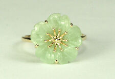 14K Jade Flower Ring - Handmade 3-Dimensional - Unique!