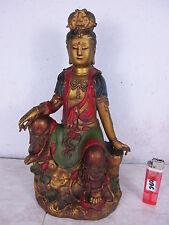 Guan Yin auf Fels & Rosen Göttin Buddha bildschöne alte Bronze aus Tibet  ~1950