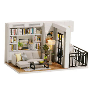 DIY Dollhouse Kit for Adults Miniatures Cottage Model Building House w/ LED