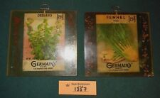 2 Vintage 1973 Epoxy Herb Seeds Wall Plaques Incased