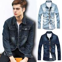 Retro Men's Casual Denim Jean Slim Jacket Jeans Lapel Coat Long Sleeve Outwear