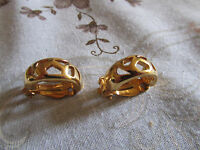 """Gold Tone Holey Cuff Clip On Earrings - 0.75"""" long"""
