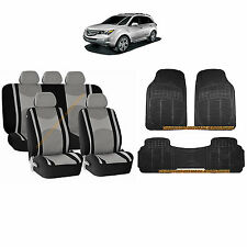 12PC GRAY MESH AIRBAG SEAT COVERS SPLIT BENCH & BLACK RUBBER MATS FOR SUVS 3048