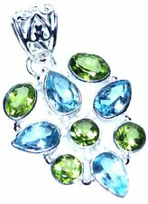 Topacio Azul + Verde Peridoto En Plata Esterlina Colgante Multi Piedras Preciosas 925 Joyería