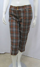 PENGUIN PANTS CAPRI WOOL PLAID NWT $190.00 GREY NAVY RED YELLOW LOW RISE 2