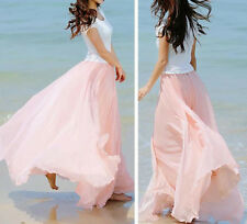 Women Loose BOHO Gypsy Chiffon Long Full Skirt Maxi Beach Dress Colorful Skirt