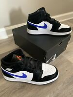 Nike Air Jordan 1 Mid GS Black/Racer Blue (554725-084) Size 7y Brand New