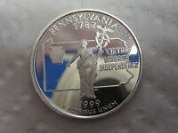 1999 S Pennsylvania State Quarter - Gem Proof Deep Cameo - 90% Silver