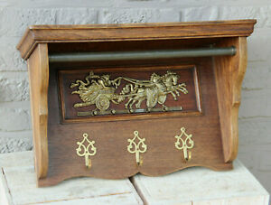 French vintage 1960 oak wood carved coat rack copper plaque horse carriage