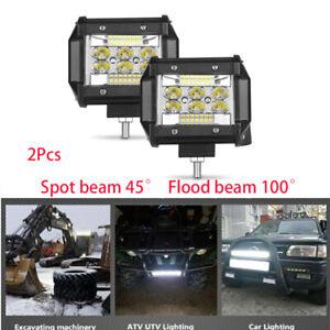 "2x 4"" 60W LED Work Light Bar Cube Pods Combo Spot Flood Fog Driving Offroad ATV"