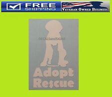 ADOPT RESCUE DOG & CAT SILHOUETT VINYL DECAL STICKER WINDOW Pet Animal Lover