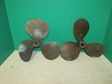 Pair Small Antique Brass or Bronze Nautical Propellers