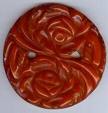 Vintage Orange Color Deep Carved Flowers & Leaves Bakelite Finding