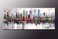 DIPINTO MODERNO ASTRATTO NEW YORK SKYLINE  CM 140x60 manhattan  painting