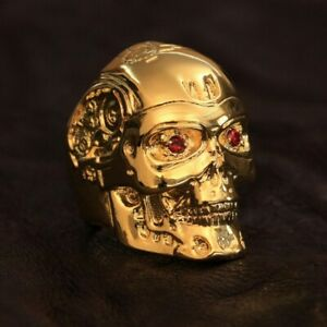 Gold Plated Brass Red CZ Eyes Terminator Mens Punk Robot Ring GP80A US 7 to 14