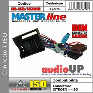CONNETTORE ISO AUTORADIO ORIGINALE ANTENNA DIN CITROEN C2 DAL 2004 IN POI