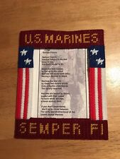 Handcrafted/Handmade Plastic Canvas Magnetic Marine Corps. Frame