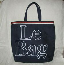 VTG Le Bag Navy Blue Red White Sturdy Canvas Tote 70s Carry on Beach Books Large