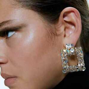 Stunning Door Knocker Crystal Square Statement Earrings Zara Style