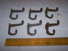 6 Antique Heavy Duty Cast Iron Coat Hat Hooks wAcorn Tips - Rusty w Chippy Paint