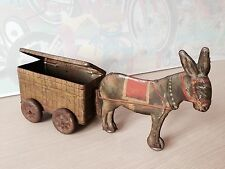 Antique Prewar Tin Toy Donkey Wagon Cart Box Germany Tipp Co Meier Very Rare