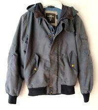 Men's H&M Blue Grey Windbreaker JACKET COAT - SMALL - Anorak Zipped HOODED