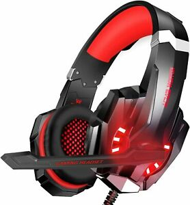 Cuffie Gaming Kotion Per PS4, PC, Xbox One,con Microfono Stereo Bass LED Rosse