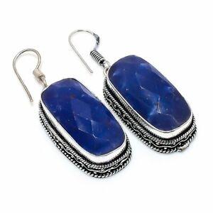 """Burmese Sapphire Gemstone Gift 925 Sterling Silver Jewelry Earring 1.97 """" z793"""