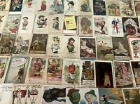 Estate Lot of 71 old Early 1900's Comic Funny Postcards~Some Artist Signed-a946