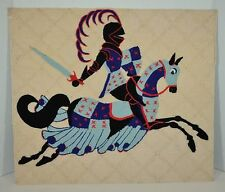Vintage Yarn Art Picture Knight in Armor With Horse Folk Art Wall Hanging 18x21