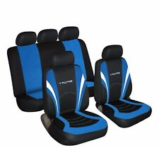 Universal Car Seat Covers Full Set Sports Black Blue Washable Airbag Compatible