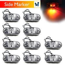 10PCS 10V-30V DC 2 LED CLEARANCE LIGHTS SIDE MARKER LED TRAILER TRUCK AMBER RED