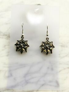 Spider Web Earrings Spirit Animal Totem Pagan Astrology Wiccan Witch Gothic