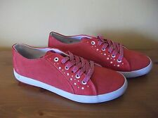 Ladies TBS Red TEXTILE Lace Up Casual SHOE Size UK 4 EUR 37 New!