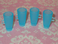 Mattel Barbie Doll DREAMHOUSE Replacement 2019 AQUA BLUE CUPS GLASSES 4 pc LOT