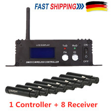 2.4G Wireless DMX512 LCD-Sender-Controller 8 XLR-Empfänger LED Bühnenlicht DHL