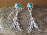 Navajo Sterling Silver Turquoise Feather Post Earrings! Spencer