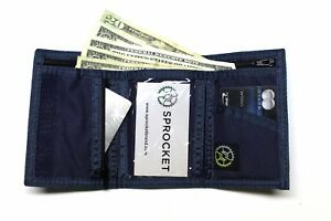 Nylon Trifold Wallet by Sprocket with Zip Coin Pocket - NAVY