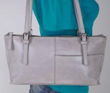 HOBO INTERNATIONAL Medium Gray Leather Shoulder Hobo Tote Satchel Purse Bag