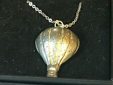 """Hot Air Balloon TG128 Pewter On 18"""" Silver Plated Curb Necklace"""