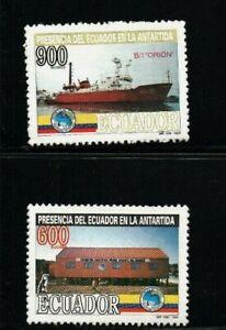 Ecuador 1994 Antarctic treaty MNH stamp set complete penguin emblem boat ship