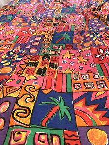 "The Manes Organization Palm trees Stars Abstract Pop Art VTG Fabric 61"" x 89"""