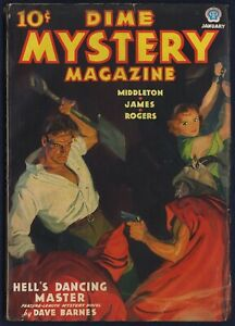 DIME MYSTERY MAGAZINE Pulp, Terrific TOM LOVELL Cover, January 1937, VERY FINE