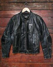 HARLEY DAVIDSON BLACK LEATHER MOTORCYCLE JACKET CAFE RACER BIKER WOMENS 10/12