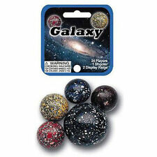 Mega Marble- 24 Collectible Marbles,1 Shooter, Net bag- Galaxy