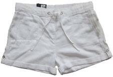 New Womens Marks & Spencer White Linen Shorts Size 14