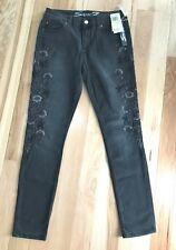 NWT Womens SEVEN 7 Perses Black Gray Skinny Embroidered flowered Pants Sz 8